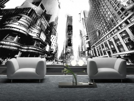 Times square New York b&w wallpaper wall mural